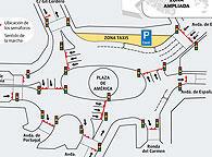 Propuesta de regulación de tráfico en la Plaza de América