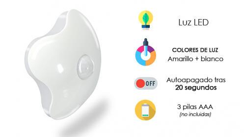 Luz de noche con sensor de presencia y autoapagado